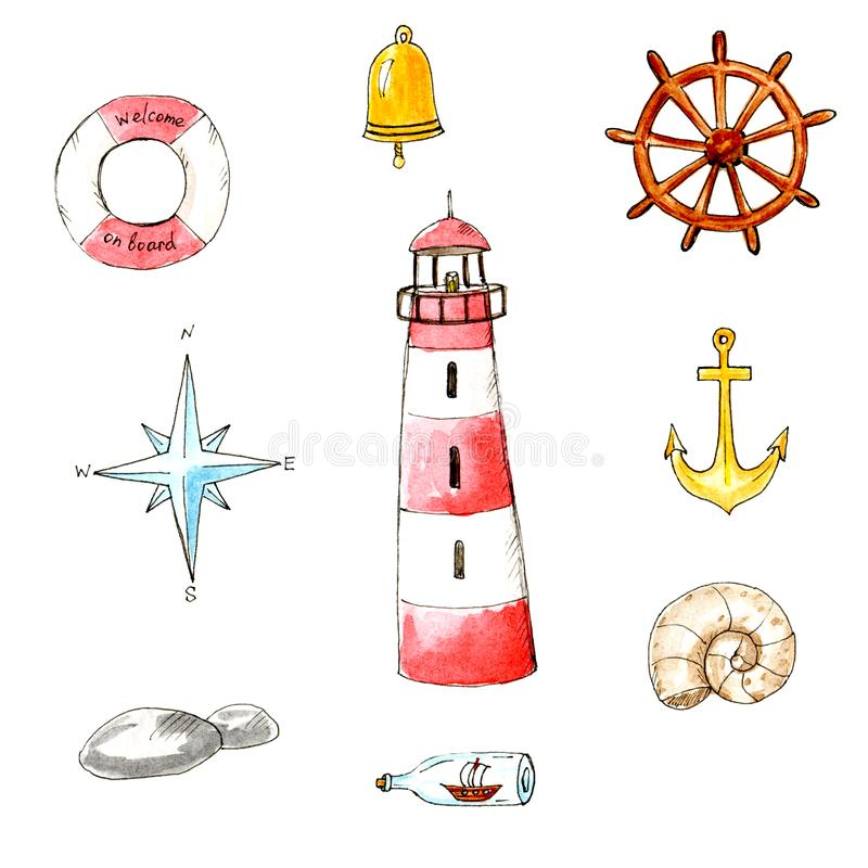 Waterverf geïsoleerde mariene de zomerreeks Overzees en holdays thema royalty-vrije illustratie