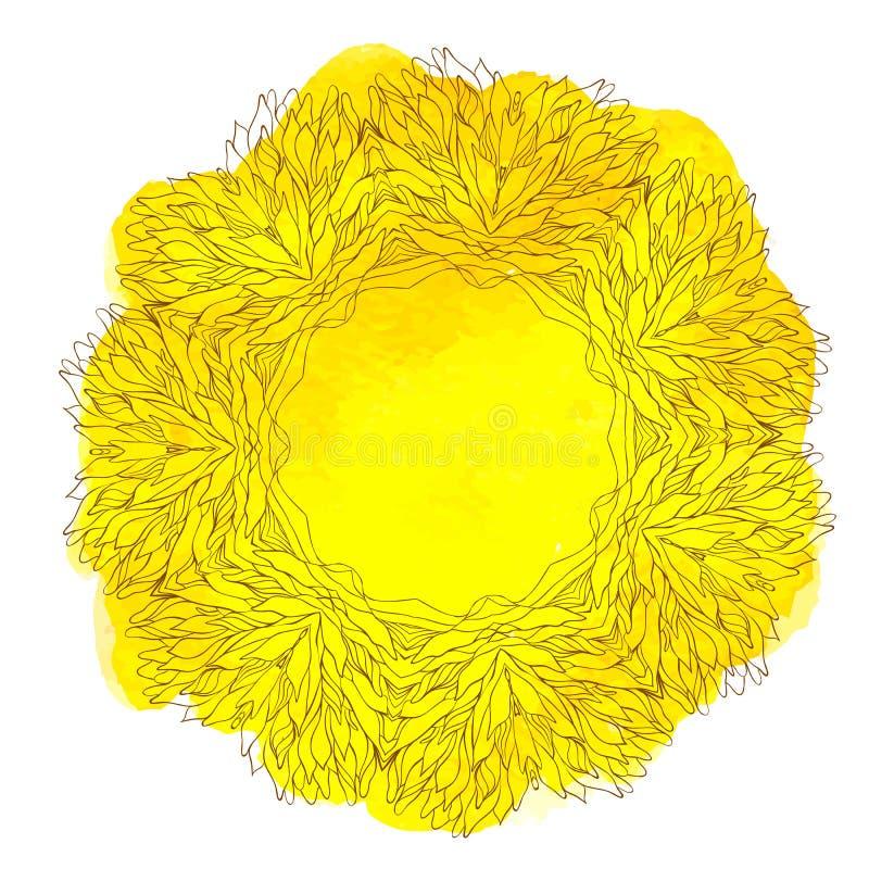 Waterverf geel kant stock illustratie