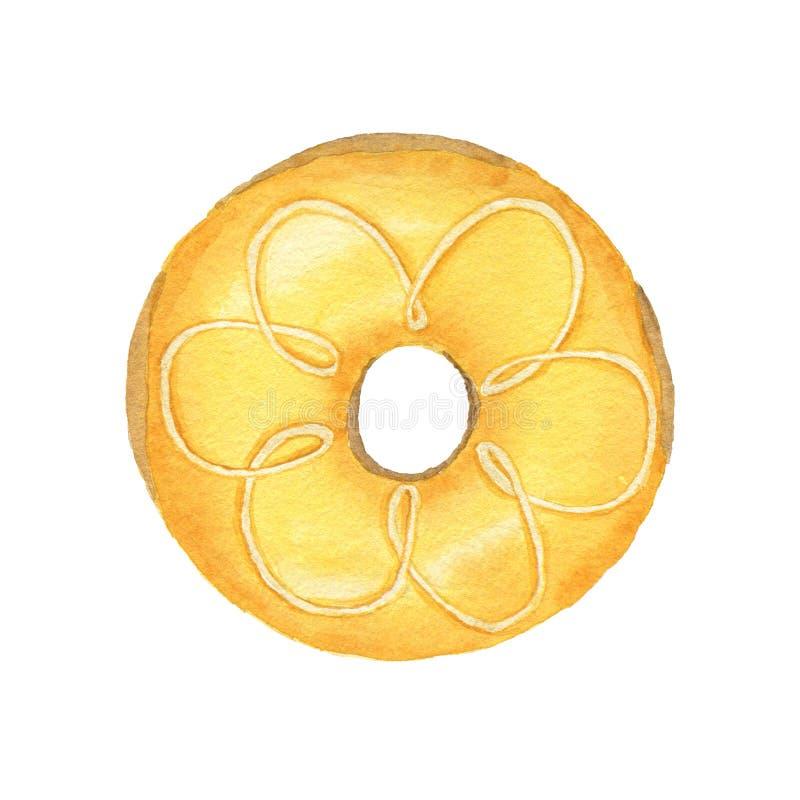Waterverf gele die doughnut op witte achtergrond wordt geïsoleerd stock illustratie