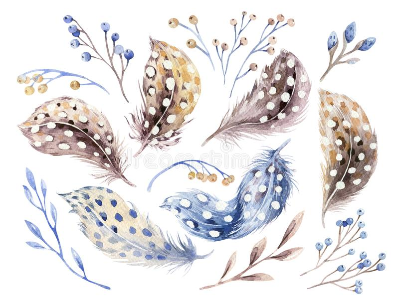 Waterverf gelukkige die Pasen met bloemen, veren en eieren wordt geplaatst De decoratie van de de lentevakantie Hand getrokken Ap stock illustratie