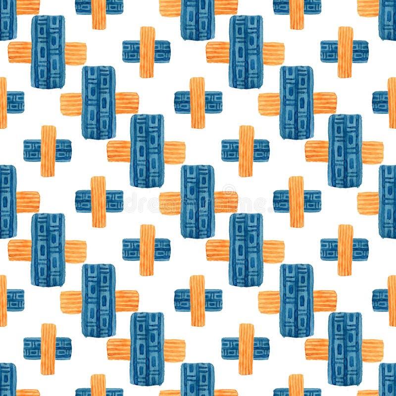 Waterverf geometrisch naadloos patroon Modern textielontwerp met etnisch dwarsornament stock illustratie