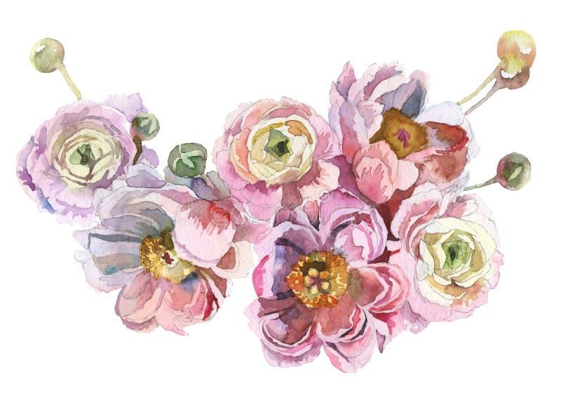 Waterverf geschilderd boeket van bloemen stock afbeelding