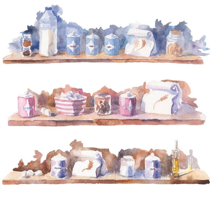 Waterverf geschilderde beelden van lijsten met verschillende ingrediënten vector illustratie