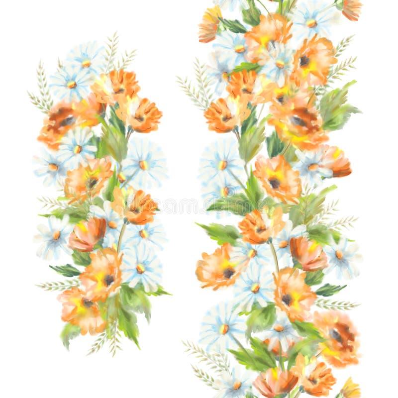 Waterverf geschilderde bloemen stock illustratie