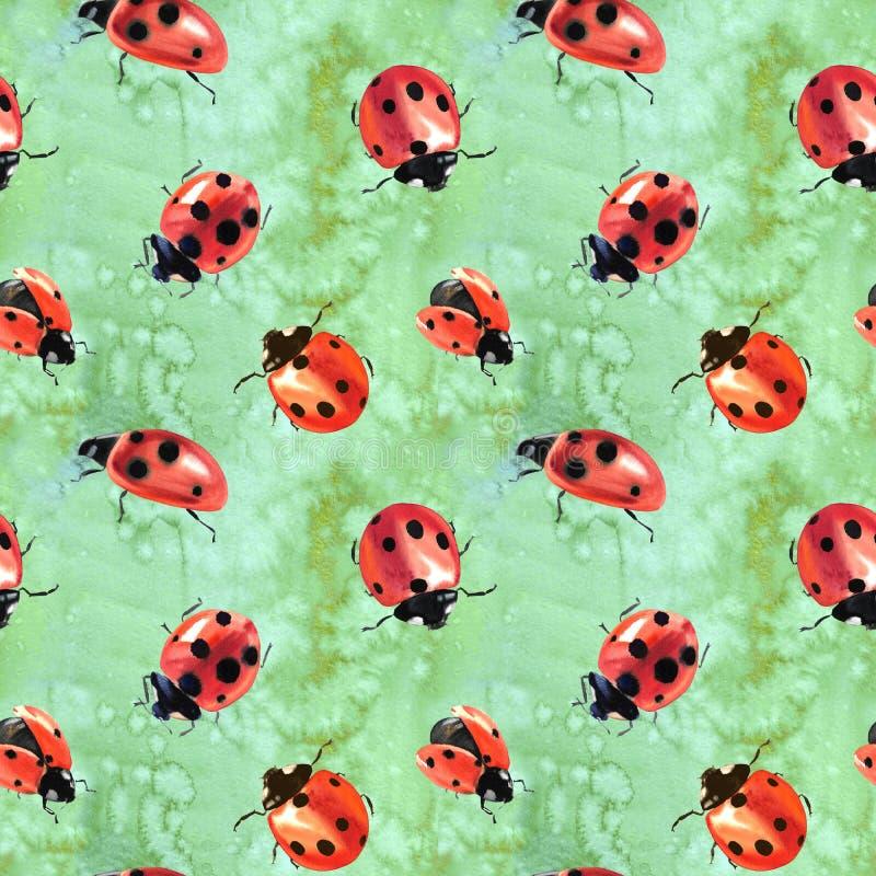 Waterverf geschilderde lieveheersbeestjes royalty-vrije illustratie