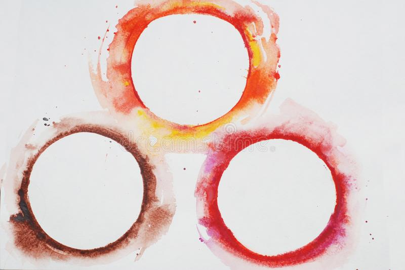 Waterverf Gestileerde Cirkels in Regenboogkleuren op een Witte Geweven Achtergrond watercolor stock fotografie