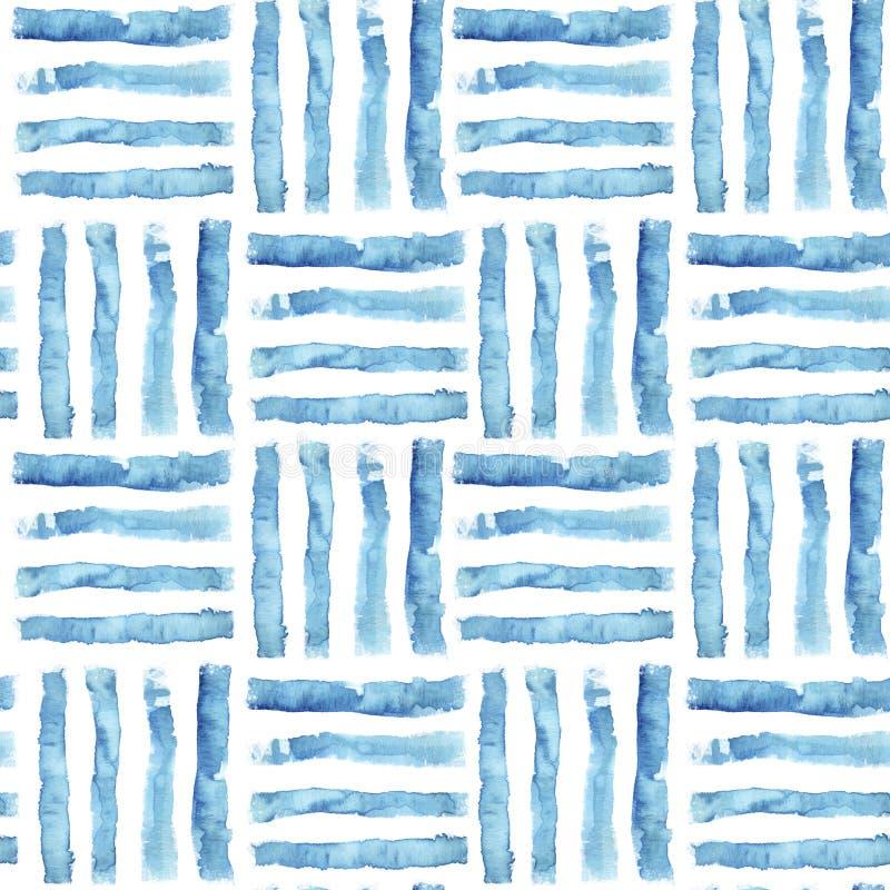 Waterverf gestreept naadloos patroon Artistieke lijnachtergrond royalty-vrije stock afbeelding