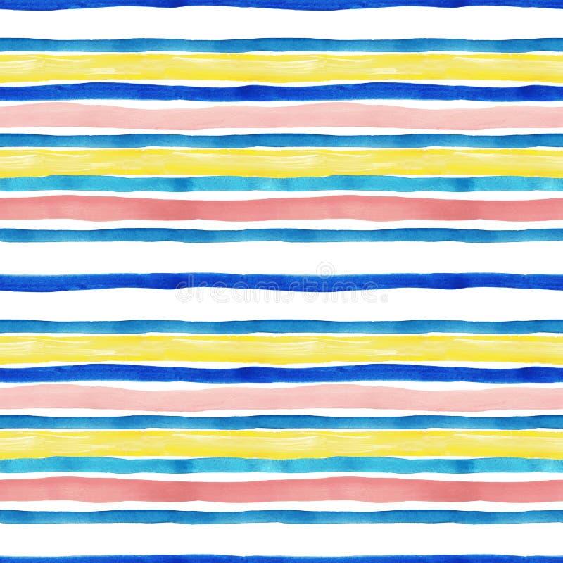 Waterverf gestreept naadloos patroon met blauwe, turkooise, gele en pastelkleur roze strepen op witte achtergrond vector illustratie