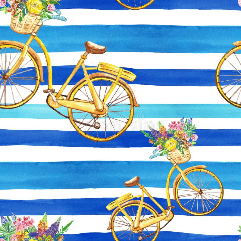 Waterverf gestreept naadloos patroon met gele fiets en blauwe strepen op witte achtergrond De zomerdruk vector illustratie