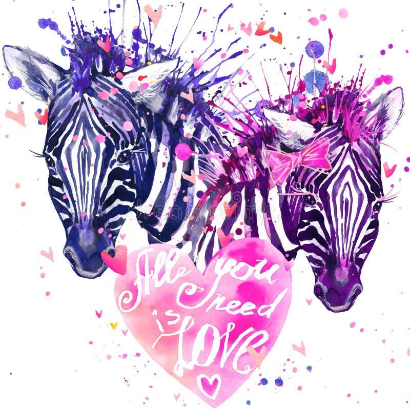 Waterverf gestreepte illustratie Leuke zebra royalty-vrije illustratie