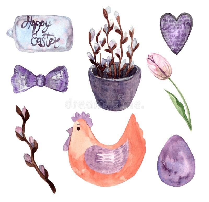 Waterverf getrokken reeks met elementen van gelukkige Pasen, de lente vector illustratie