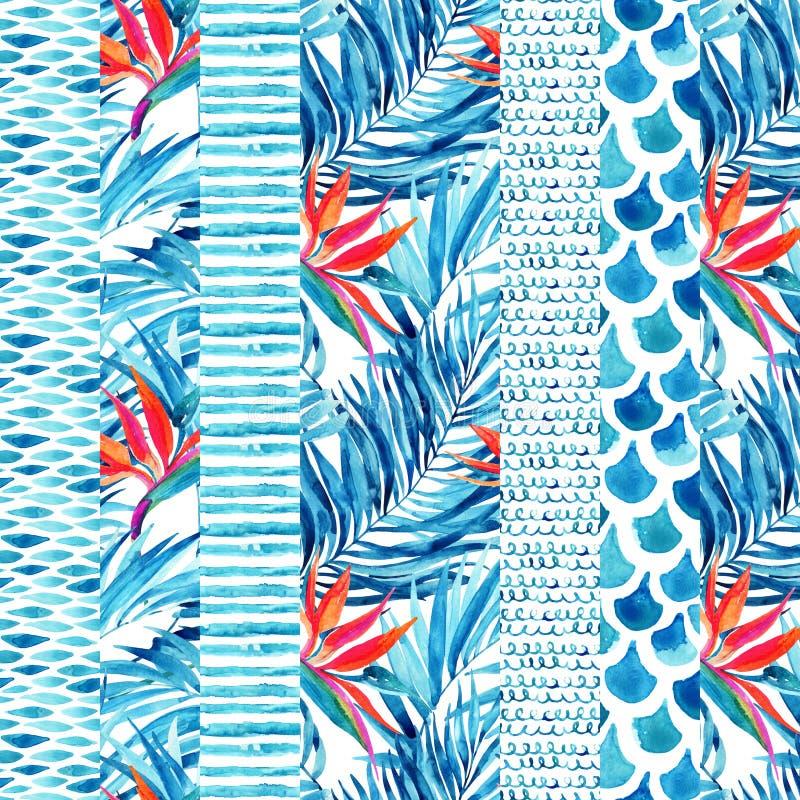 Waterverf geweven gestreept naadloos patroon stock illustratie