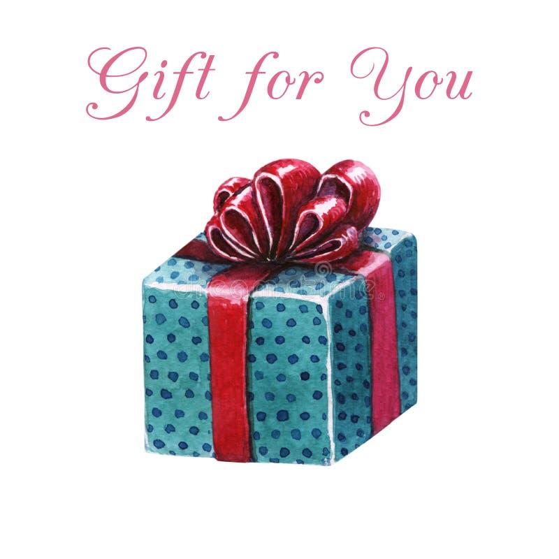 Waterverf giftbox Blauwe giftdoos met rood lint vector illustratie