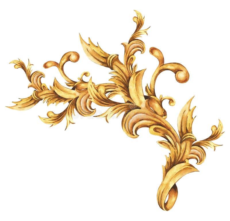 Waterverf gouden barokke bloemenkrul, het element van het rococo'sornament Hand getrokken gouden rol royalty-vrije illustratie