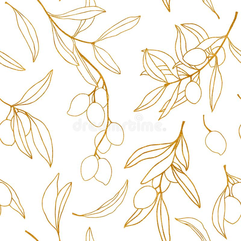 Waterverf gouden schets met olijfbladeren en tak De hand schilderde bloemen naadloos patroon Ge?soleerde illustratie royalty-vrije illustratie