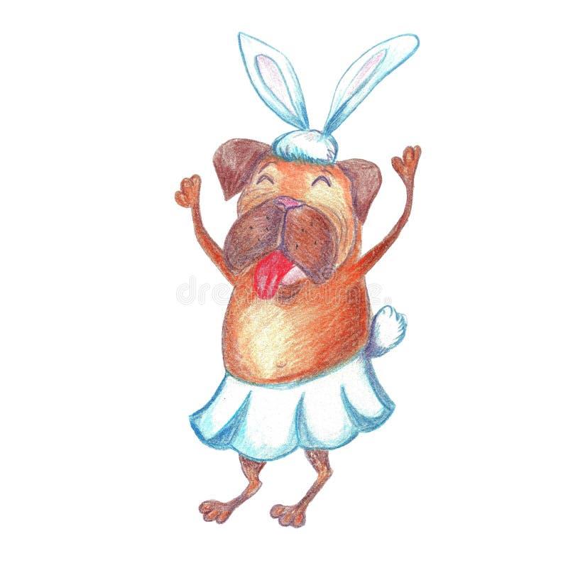 Waterverf Grappige Dansende Pug in Carnaval-Kostuum Gelukkig Nieuwjaar vector illustratie