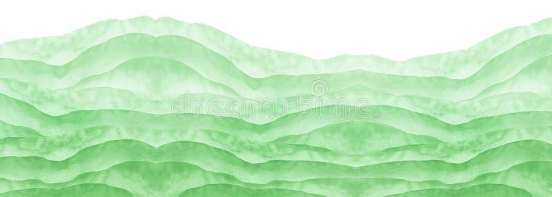 Waterverf groene achtergrond, vlek, vlek, plons van groene verf Waterverfgebied, weide, vlek, abstractie Wild gras, struiken stock afbeeldingen