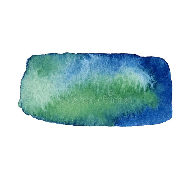 Waterverf groene en blauwe hand getrokken geïsoleerde vlek op witte achtergrond Natte borstelslag geschilderde abstracte vector stock illustratie