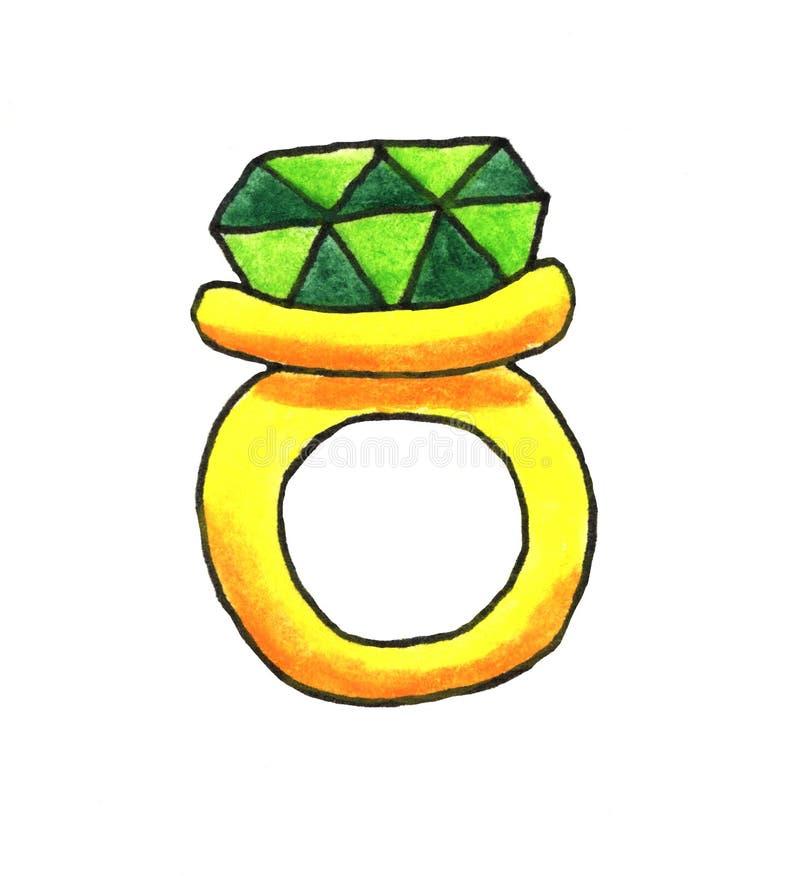 Waterverf Groene Ring vector illustratie