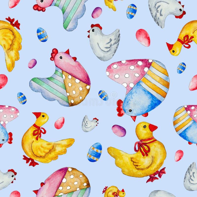Waterverf hand-drawn kip, eenden en eieren royalty-vrije illustratie