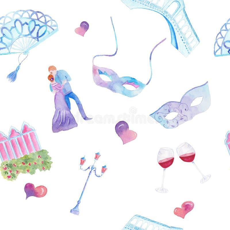 Waterverf hand het getrokken schilderen met de Venetiaanse brug van symboolrialto, maske, ventilator, een paar, lamp, venster, ha stock illustratie
