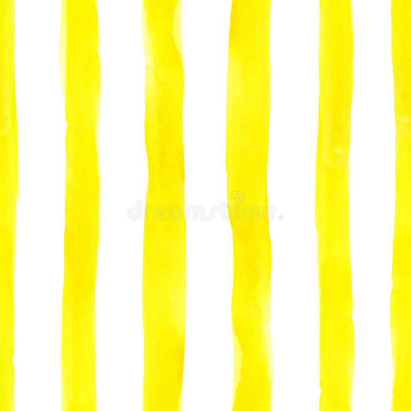 Waterverf helder naadloos patroon met geschilderde gele strepen op witte achtergrond Leuke kleurrijke eindeloze druk, uitstekende stock foto
