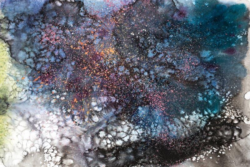 Waterverf het abstracte schilderen de tekening van de waterkleur De textuurachtergrond van Watercolourvlekken royalty-vrije illustratie