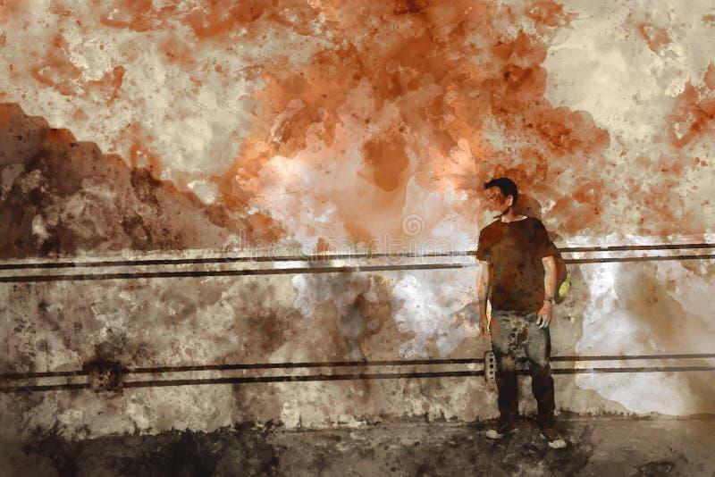 Waterverf het abstracte schilderen van de mens naast muur, het digitale schilderen royalty-vrije illustratie