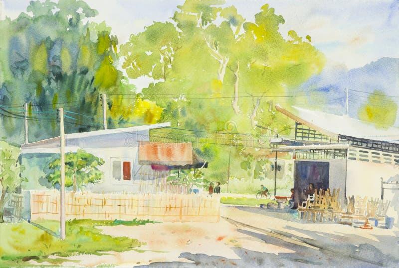 Waterverf het originele landschap schilderen van plaatselijke bewonersmarkt en berg royalty-vrije illustratie