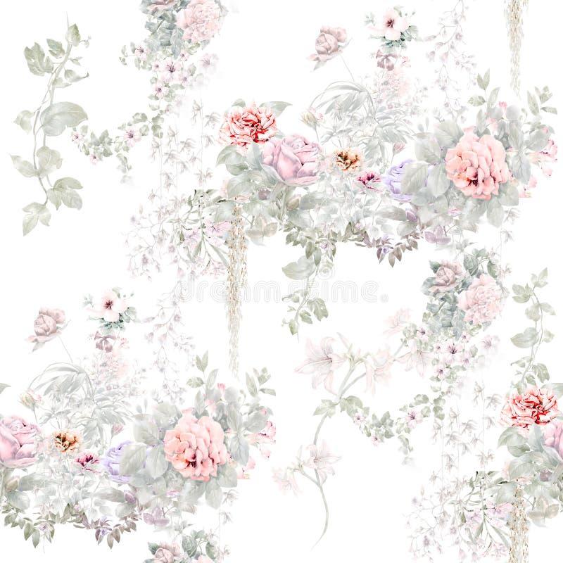 Waterverf het schilderen blad en bloemen, naadloos patroon op witte illustratie als achtergrond stock illustratie