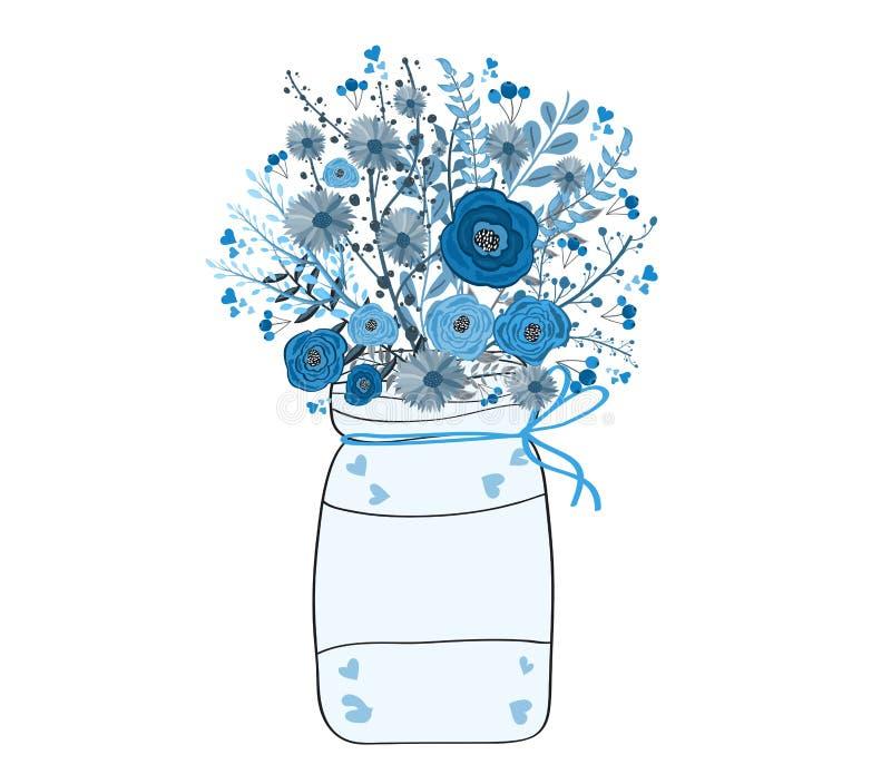 Waterverf het schilderen bos van bloemen in een vaas stock illustratie