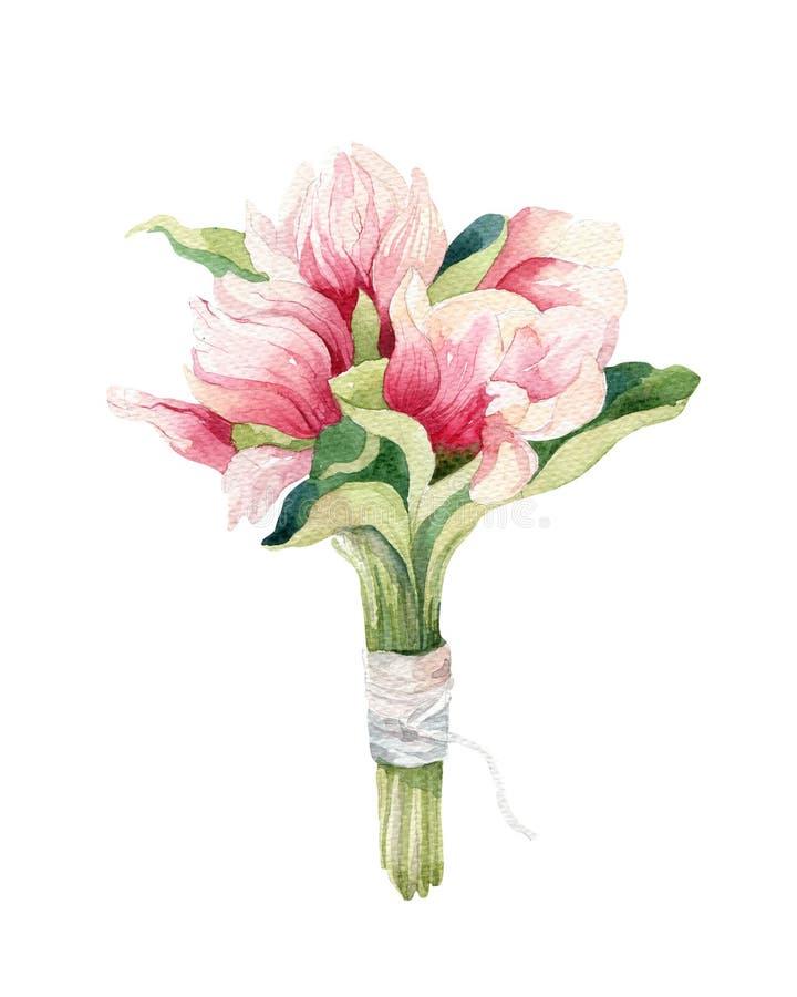 Waterverf het Schilderen de decoratie van het de bloembehang van de Magnoliabloesem stock illustratie
