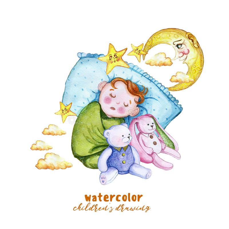 Waterverf het schilderen de illustratie van drukkinderen ` s met een kind in de luier, de baby slaapt op het hoofdkussen, rond de vector illustratie