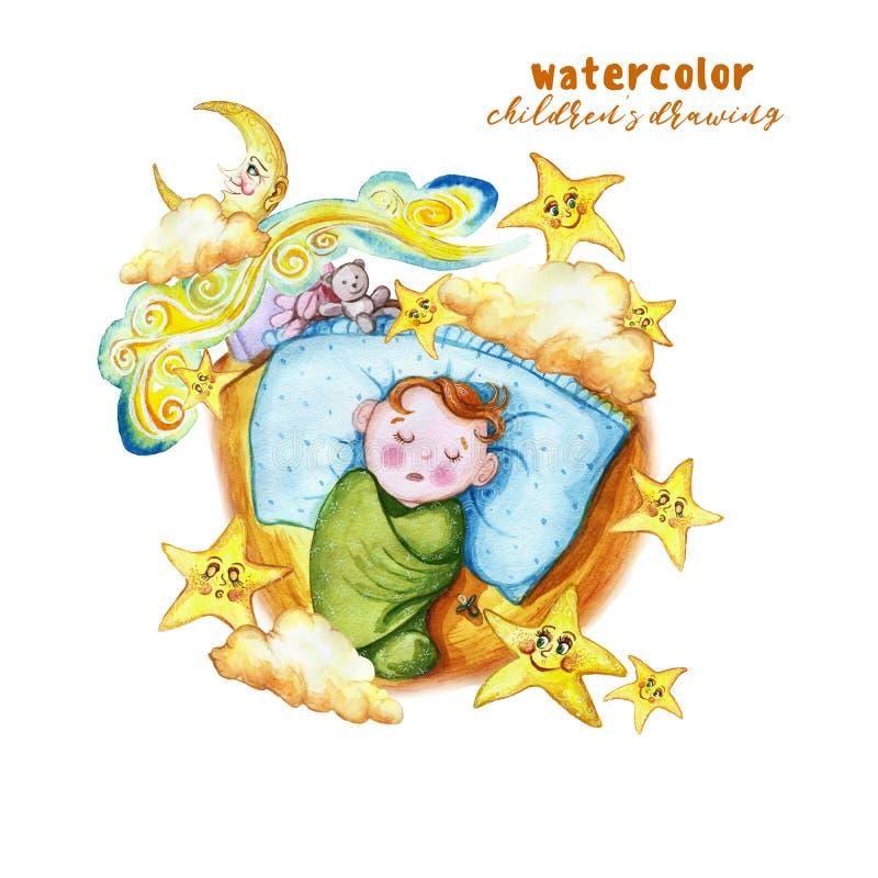 Waterverf het schilderen de illustratie van drukkinderen ` s met een kind in de luier, de baby slaapt op het hoofdkussen, rond de royalty-vrije illustratie