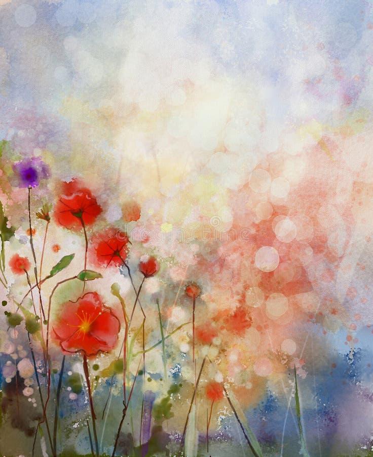 Waterverf het schilderen de lente bloemenachtergrond stock illustratie