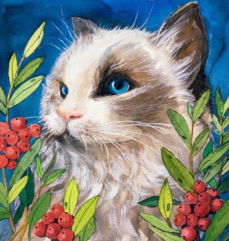 Waterverf het Schilderen - Kat royalty-vrije illustratie