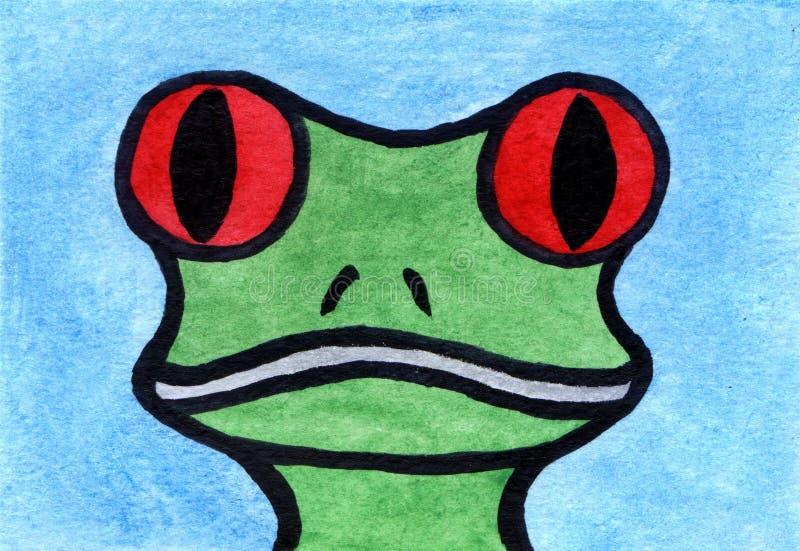 Waterverf het schilderen Kikker` s hoofd royalty-vrije illustratie