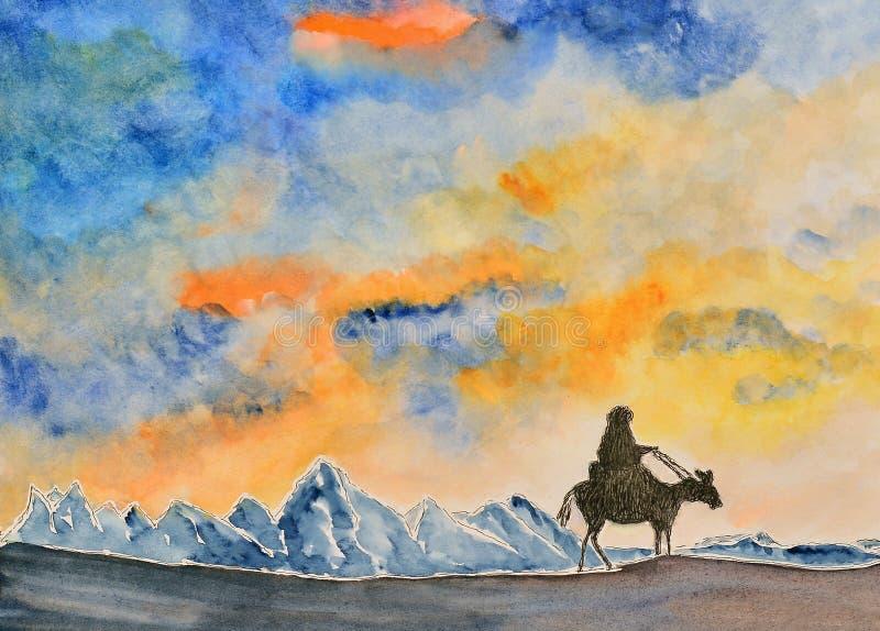 Waterverf het schilderen, landschap royalty-vrije illustratie