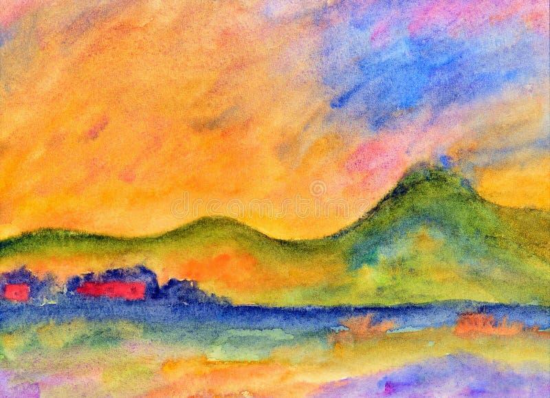 Waterverf het schilderen, landschap stock illustratie