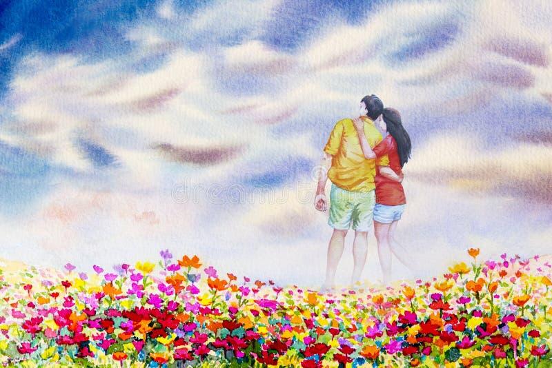 Waterverf het schilderen landschap van liefdepaar op madeliefjebloemen vector illustratie