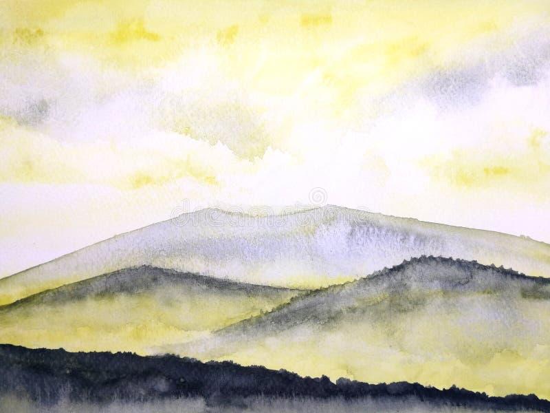 Waterverf het schilderen landschapszonsondergang of zonsopgang op de bergmist vector illustratie