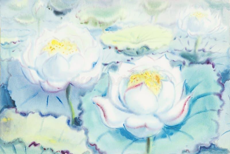 Waterverf het schilderen lotusbloembloemen en blauwe achtergrond royalty-vrije illustratie