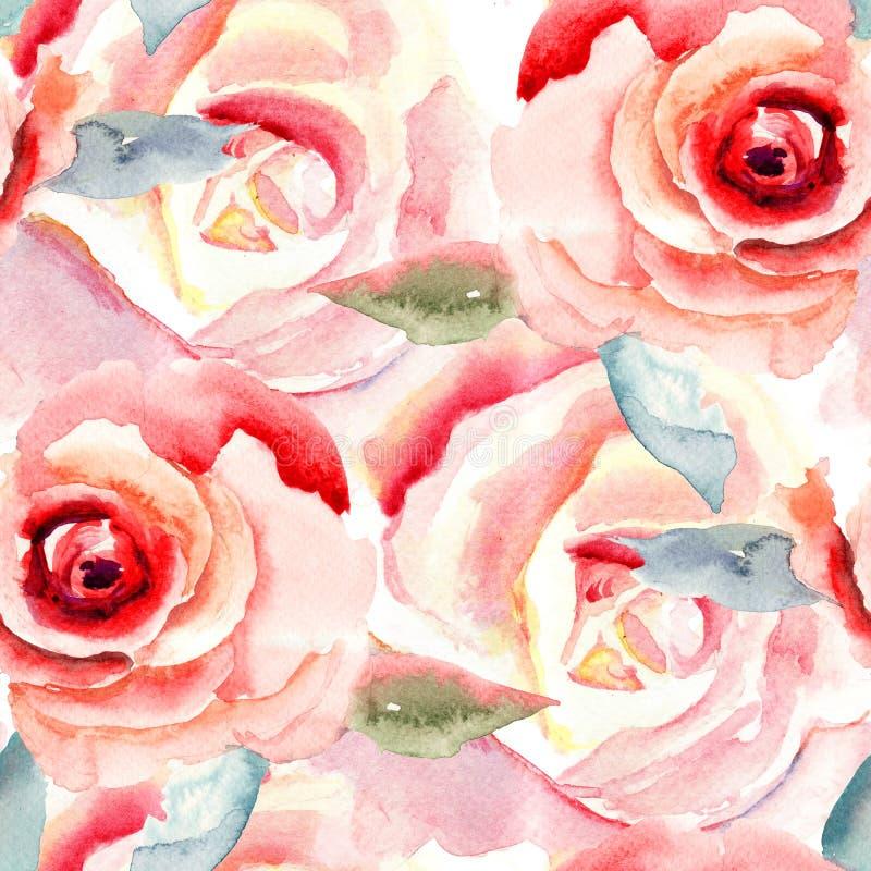 Waterverf het schilderen met Roze bloemen stock illustratie