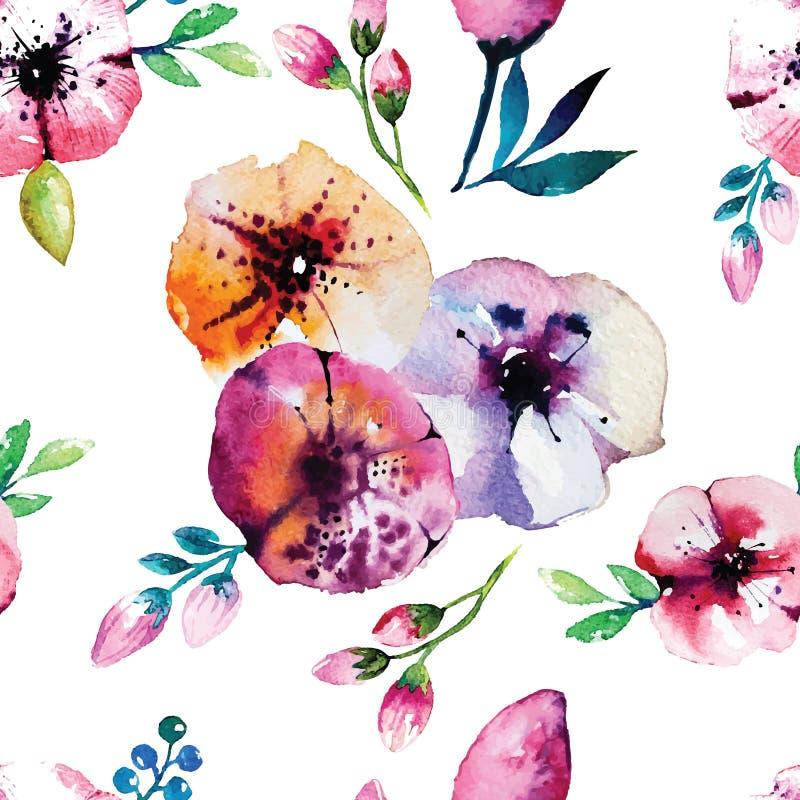 Waterverf het schilderen met Roze bloemen naadloos royalty-vrije illustratie
