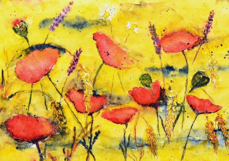 Waterverf het schilderen, papavers vector illustratie