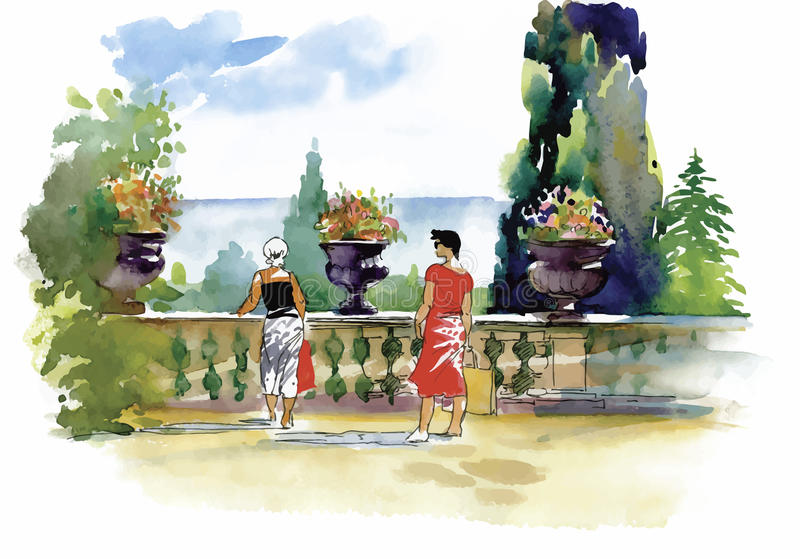 Waterverf het schilderen toevluchtbalkon met paar vectorillustratie royalty-vrije illustratie