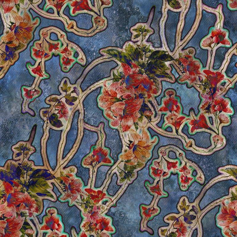 Waterverf het schilderen van blad en bloemen, naadloos p vector illustratie