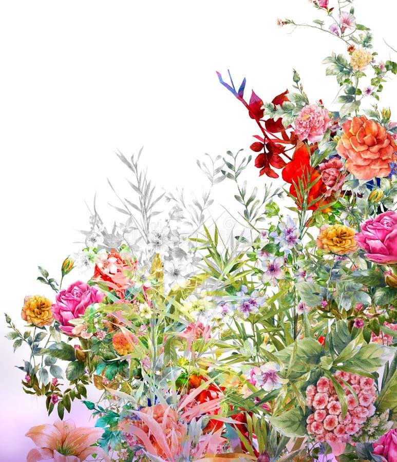 Waterverf het schilderen van bladeren en bloem, op wit stock illustratie