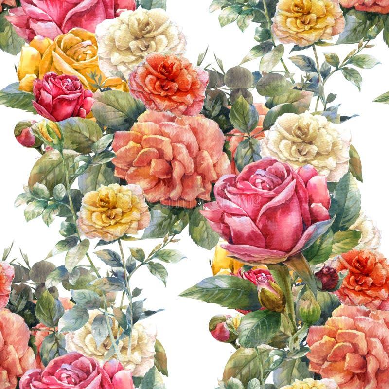 Waterverf het schilderen van bloemen, nam, naadloos patroon toe vector illustratie