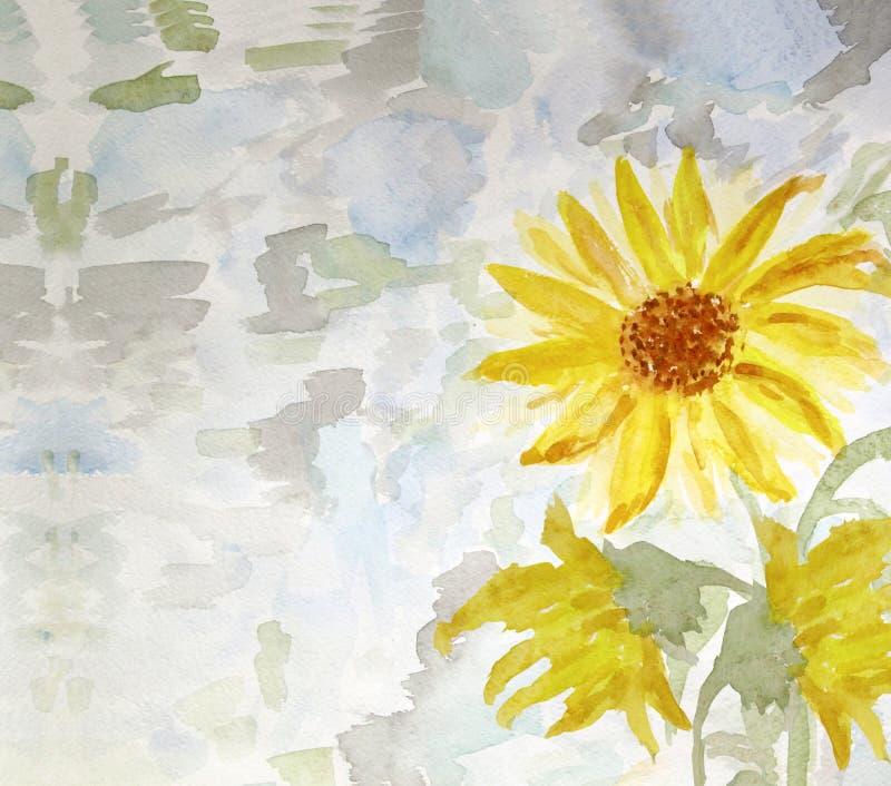 Waterverf het schilderen van bloemenzonnebloem, kaart stock illustratie